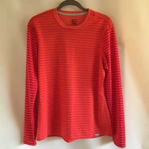 Patagonia Orange Striped Long Sleeve Top XL